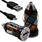 Seluxion - Chargeur voiture allume cigare USB avec câble data avec motif CV02 pour BlackBerry : 8520 Curve / 8900 Curve /9300 Curve 3G / 9320 Curve / 9360 Curve / 9380 Curve / 9700 Bold / 9780 Bold / 9790 Bold / 9800 Torch / 9810 Torch / 9860 Torch / 9900 Bold Touch / PlayBook