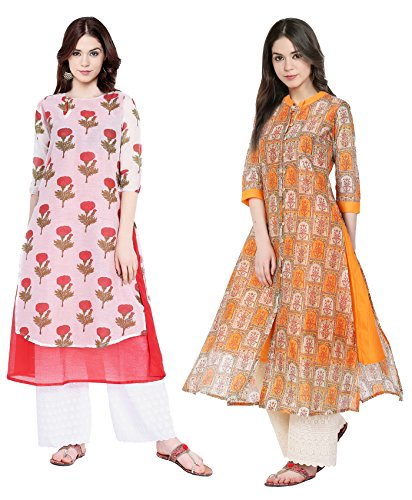 IndiStar Chanderi Silk Casual Kurta/Kurtis Combo for Women(Pack of 2) Color-Multicolor_Size-Medium_CH 1420-IW-P2-M