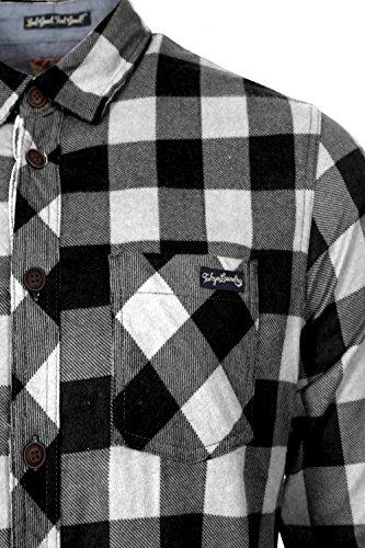 Herren Tokyo Laundry Wilding Kariertes Hemd Baumwolle Flanell Top Schwarz/Weiß