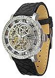 Moog Paris - Chameleon Damen Automatische Uhr mit Skelett Zifferblatt, Swarovski Elements & Schwarz Armband aus Echtem Pythonleder - Hergestellt in Frankreich