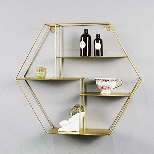 Stand MEIDUO Wandregale Dekorative Regal Loft Cafe Bar Dekoration Regal für Schlafzimmer, Wohnzimmer, Bad, Küche, Büro und Vieles Mehr Sehr Langlebig (Farbe : Gold) -