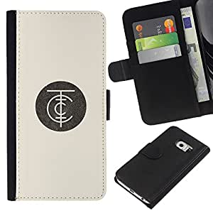 EJOY---Raccoglitore di vibrazione Custodia in pelle Premium Custodia protezione PU / Samsung Galaxy S6 EDGE / --logo aziendale minimalista beige retrò