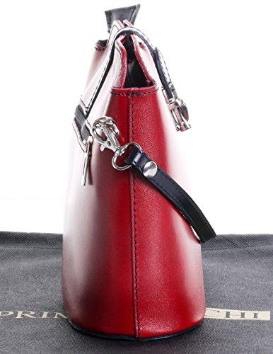 Fatta piccola croce corpo o borsa a tracolla borsa a mano pelle liscia italiana.Include una custodia protettiva marca Rosso & nero