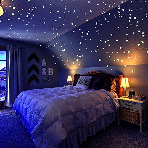 ber Pack von 909, Set mit Adhesive Stars, Mond und Free Constellation Guide, 3 Größen, Grün, Glow In The Dark Aufkleber, Glow Stars Supernova ()