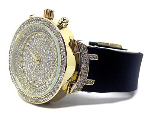 Bling Bling Full Faux Diamant Gesicht Hiphop Bling Herren Armbanduhr (Männer Gold Iced Out Uhr)