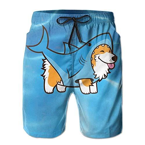 Bademode-körper-handschuh (Corgi in A Shark Beach Shorts für Herren Schnelltrocknende Badehose mit Taschen L)