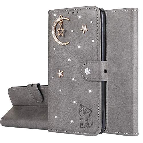Miagon Diamant Brieftasche Hülle für iPhone 6S / 6,Mond Star Katze 3D Design PU Leder Flip Handyhülle Klapphülle Klappbar Silikon Bumper Schutzhülle,Grau