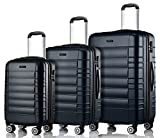 MERISH Reisekoffer Set 4 Zwillingsrollen Hartschale 10 Farben Koffer Kofferset Trolley 001 Schwarz 3er Set