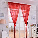 Decdeal Door String Curtain Shiny Tassel Flash Silver Line String Curtain 100x200cm Coffee House Restaurant Decoration