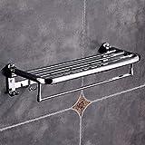 Shisky Wandmontierter Handtuchhalter, Silber Edelstahl Wandmontage Bad Handtuch Rack verdickten Basis Regal Lagerung Doppelschienen Rack 59,5 * 25 * 13,8 cm