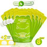#4: Pack of 8 Reusable Squeeze Food Pouch for Babies &Toddlers + 2 Extra Caps - Large 7oz