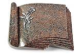 MEMORUM Grabmale Grabbuch, Grabplatte, Grabstein, Grabkissen, Urnengrabstein, Liegegrabstein Modell Prestige 40 x 30 x 8-9 cm Paradiso-Granit, Poliert inkl. Gravur (Aluminium-Ornament Rose 6)