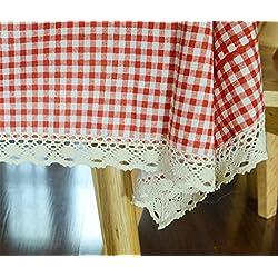 XIAOMEIXI Mantel 100% de la tela de la tela escocesa del algodón para la cubierta decorativa de la tabla de la cocina que cocina Tamaño clasificado , red , 140*180cm