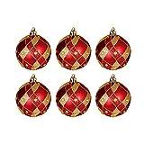 Christbaumkugel rot/gold mit kleinen Strasssteinen, 6-er Pack, 60mm Durchmesser.