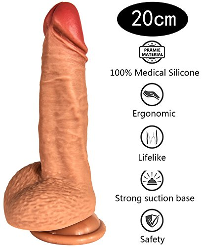 Enlove 100% Medizinisches Silikon Realistische Dildo (200mm, Ø45mm, ca. 358g) Penisnachbildung mit Schöner Eichel & Super Starkem Saugnapf Real Dong Penis Sexspielzeug für Frauen (Hautfarbe 02)