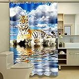 ZYLE Cortina de ducha de poliéster cortinas de división, patrón del tigre/partición impermeable/personalidad agua que fluye a prueba de agua moho a prueba de humedad,71x79inch