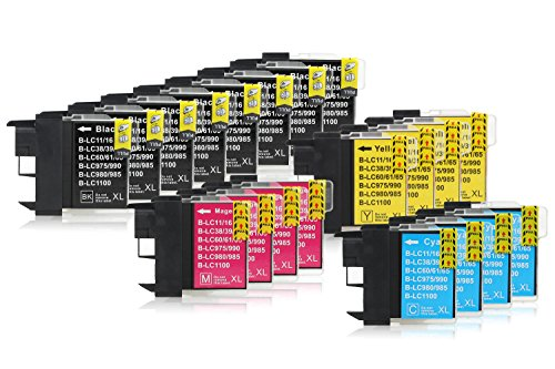 20 Druckerpatronen kompatibel zu Brother LC-1100 (8x Schwarz, 4x Cyan, 4x Magenta, 4x Gelb) passend für Brother DCP-185-C DCP-380 DCP-383-C DCP-385-C DCP-387-C DCP-395-CN DCP-585-CW DCP-6690-CW DCP-J-715-W MFC-490-CN MFC-490-CW MFC-490 MFC-5490-CN MFC-5890-CN MFC-5895-CW MFC-6490-CW MFC-6690-CW MFC-6890-CDW MFC-6890-CW MFC-790-CW MFC-790 MFC-795-CW MFC-990-CW MFC-J-615-W (Lc1100 Cyan Tinte)