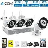 A-ZONE 4 Kanal HD Funk Überwachungskamera Set 960P Videoüberwachung Überwachungsrecorder mit Sicherheitskameras mit Bewegungsmelder 4*720P 1.0MP IP WLAN Kamera Überwachungskamera Außen, Mit Festplatte 1TB