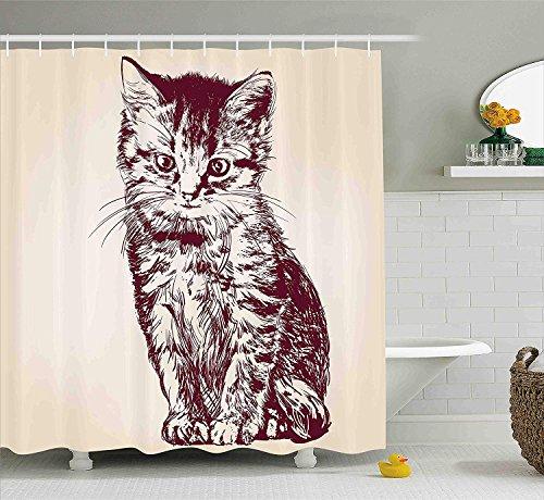 OuopBgbkkjn Cat Decor Duschvorhang von Little Kitty Sitting Inland Whiskers Feline Best Company Tier Grafikdruck Stoff Badezimmer Dekor Set mit Creme Maroon -
