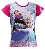 Frozen - Die Eiskönigin Kollektion 2016 T-Shirt 98 104 110 116 122 128 134 Mädchen Disney Shirt Anna und ELSA Fuchsia (116-122, Fuchsia)