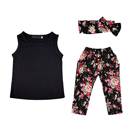 CHIC-CHIC 3PCS Kids Baby Girl Casual Suit Clothing Set Outfits Sleeveless Vest Tops+ Flower Print Pants +Headband Set (2-3 years old)
