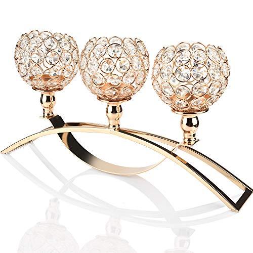 TianranRT Kristall Kerzenständer Hochzeit/Feiertag/Handlung Menschen Geschenk Dekoration 17 Zoll (Gold) Gold Stand