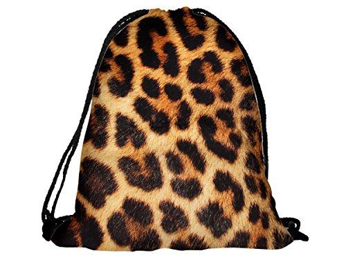 Sacca sportiva a tracolla per l'allenamento, ma non solo. Ultra leggero lifestyle viaggio borsa borsetta palestra zaino a spalla trend sport per uomini donne ragazzi ragazze bambini, RU-81 modello leopardo