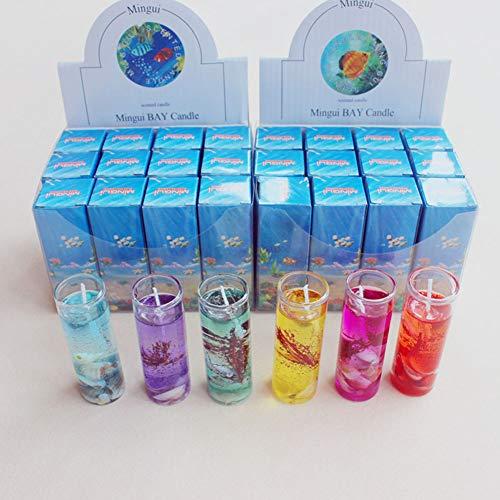 Fruit Gel-kerze (DS.Styles DSstyles Aromatherapie-Kerze, rauchfrei, mit Ozeanmuscheln, Valentinstagsduft, Gelee, 8 x 2,7 cm, 12 Stück 12 Pcs)