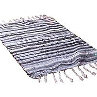 laamei Alfombra Trenzada de Algodón Reciclado Antideslizante Absorbente Tacto Suave Alfombrilla para Puerta Cocina Dormitorio Salón(50x80cm)
