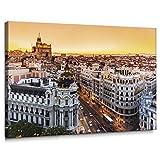Cuadro de Gran Vía de Madrid en Lienzo de 100 x 70 cm, Decoración para Pared de Salón, Dormitorio...