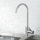BOEN SS104 Bleifreier Trinkwasserhahn für Trinkwasser-Filtersystem 1/4-Zoll-Schlauch, Edelstahl gebür
