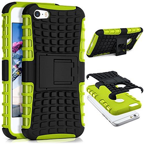 MoEx Apple iPhone 5S   Hülle Silikon Hard-Case Grün [OneFlow Outdoor Back-Cover] Extrem Stoßfest Schutzhülle Grip Handyhülle für iPhone 5/5S/SE Case Rückseite Tasche