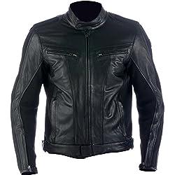 Chaqueta de piel de la moto para hombres,Spyke Stripe GP (46, negro)