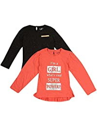 Life by Shoppers Stop Girls Round Neck Printed Top Pack of 2