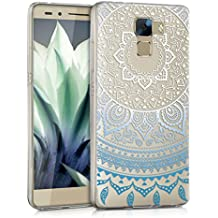 kwmobile Funda para Huawei Honor 7 / Honor 7 Premium - Case para móvil en TPU silicona - Cover trasero Diseño Sol hindú en azul blanco transparente
