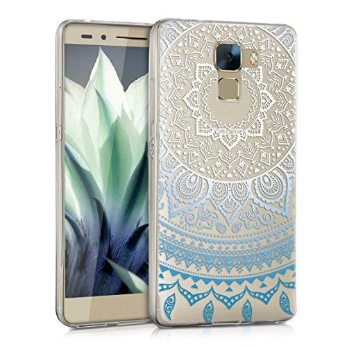 kwmobile Huawei Honor 7 / Honor 7 Premium Hülle - Handyhülle für Huawei Honor 7 / Honor 7 Premium - Handy Case in Blau Weiß Transparent