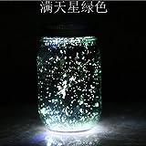 Barattolo di vetro a emissione luminosa LED solare bicolore tanica solare metallica sub-bagliore stellato verde