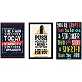 Combo Pack Of 3 Motivational Quote Canvas Printed Wall Poster Quotes & Motivation ,(12X18) BY Vprint