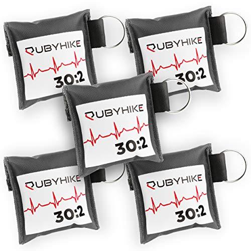 Erste-Hilfe-Schlüsselanhänger für Ersthelfer - Notfall-Set mit Beatmungstuch und Einmalhandschuhen - Hygiene für Laienhelfer - zeitloses Design für Handtasche, Rucksack, Schlüsselbund (5er-Pack) Hygiene-set
