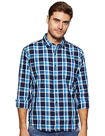 BUFFALO By FBB Men's Checkered Regular Fit Casual Shirt (1000857503_Blue_Medium)