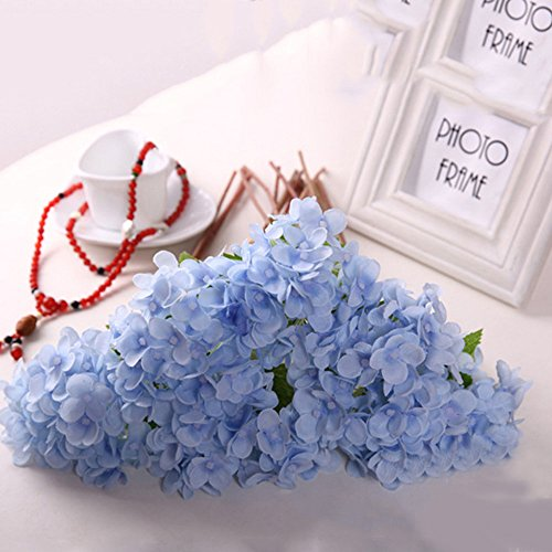 Nixikoo® 18 x Mini Kunstblumen Blumenstrauß Künstlich Hydrangea Blumen Hortensie Haus Hochzeitshotel Dekor Hochzeit Home Décor Brautjungfer Blumenmädchen Blume (Blau)