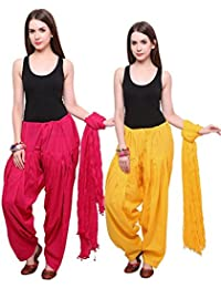 BILOCHI'S Pure Cotton Patiala Salwar With Dupatta In A Combo Of 2 For Womens (Free Size, Pink & Yellow)