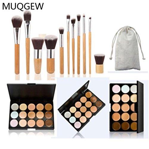 MuSheng(TM) Pinceaux15 Couleurs Palette Correcteur Contour 11pc de bambou ensemble + Pinceaux pour le visage