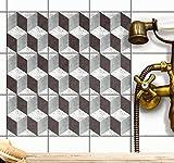 creatisto Fliesen-Deko Fliesensticker Klebefliesen u. Fliesenaufkleber | Dekorations-Fliesenfolie Bad u. Küchen-Fliesen Wanddeko Fliesen überkleben | 15x15 cm - Motiv 3D Marmor Cubes - 54 Stück
