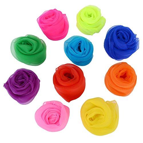 Vpsan [10 Pieces-10 Colors] Gesaeumte Quadrat Schal Rhythmus magische Tanz mehrfarbigen Schals (Satz 10)
