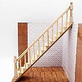 Odoria 1/12 Miniatur Möbel Holztreppe Treppe Stringer Schritt mit der Rechten Handlauf Für DIY Puppenhaus Möbel Zubehör