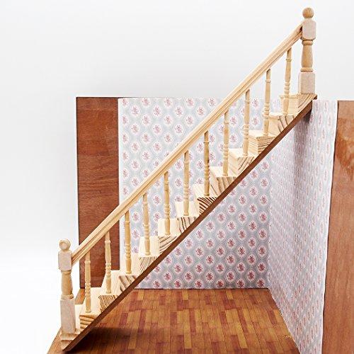Odoria 1/12 Miniatur Möbel Holztreppe Treppe Stringer Schritt mit der Rechten Handlauf Für DIY...