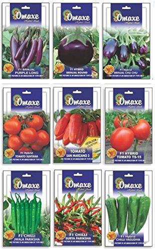 Tradico SUPER HYBRID BRINJAL 3TYPEN, Tomate 3 Typen UND Pfeffer 3TYPEN Combo (AVG 40/50 + SAMEN JEDER) Marke Omaxe Verkauft von Super Agri Green (Agro-tomaten-samen)