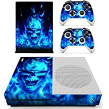 Morbuy Xbox One S Skin Vinly Pegatinas Protective Consola Sticker Decal + 2 Controlador Skins Set (Skull Fire Blue)