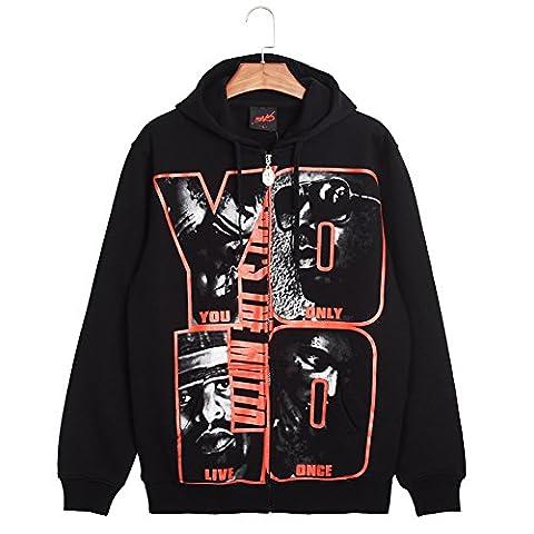 [New Hip-hop Fashion] Men's Full Zipper Print Fleece Hoodie Jacket